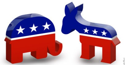 Republican Elephant and Democratic Donkey