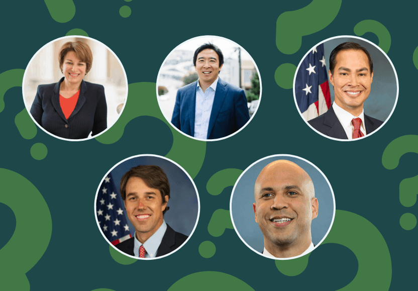 Candidates Amy Klobuchar, Andrew Yang, Julian Castro, Beto O'Rourke, and Cory Booker.