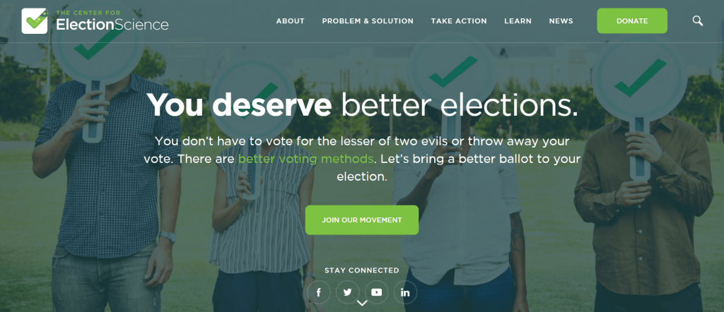 Screenshot of the new Center for Election Science website homepage.