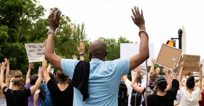 Man with Hands Up at Black Lives Matter Protest for George Floyd
