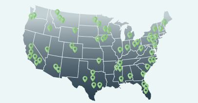 Map of the US with green location drop pins in various cities across the country