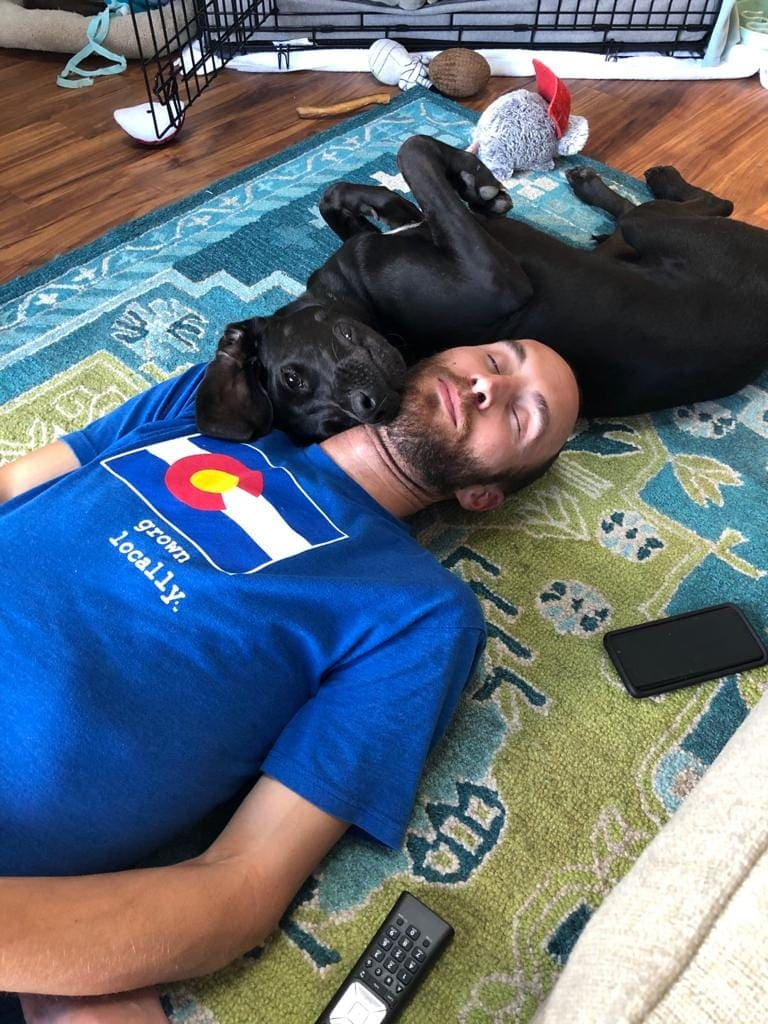 Mike seen laying on the floor next to his black lab/ hound mix puppy.