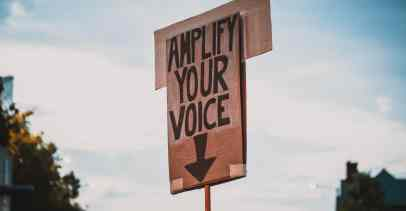 "A cardboard sign on a stick is seen with the sky behind it. The sign says ""Amplify your voice"" with an arrow pointing down."